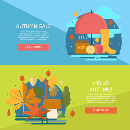 Autumn sale banners set. Poster, card, label, banner design set. Vector horizontal banners. Illustration