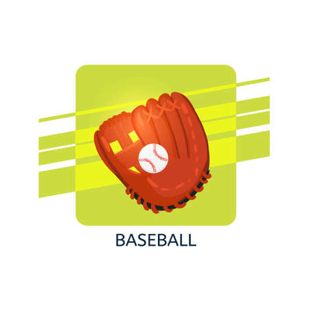Baseball in glove vector icon. Isolated vector illustration.