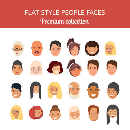 People faces vector set. Flat style heads premium collection. Men and women faces isolated on white background.