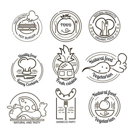 Restaurant logos and emblems set. Hand drawn logos premium collection. BBQ and vegetarian vector set.