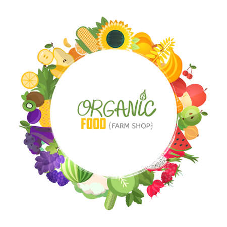 Organic food typographic poster background. Color decorative circle frame composed of fruits and vegetables.