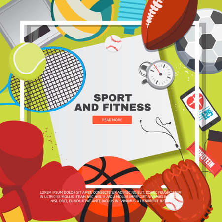 Sport equipment concept with competitive games accessories. Football, basketball, boxing, tennis, baseball, rugby, volleyball vector illustration.