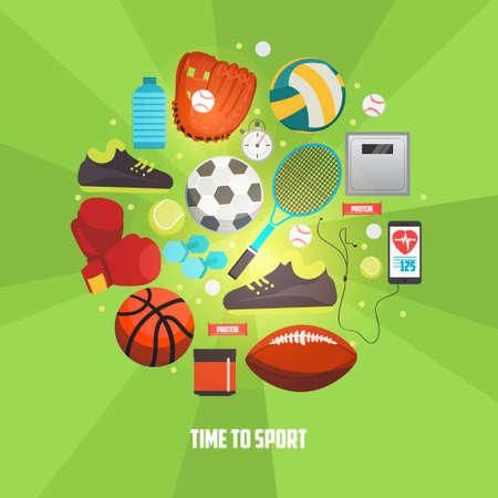 Sport balls and gaming items icons set. Vector concept with sport equipment for competitive games.