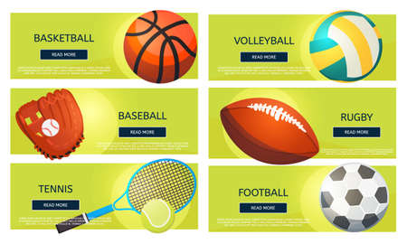Sports balls and equipment icons of gaming accessories. Football, basketball, tennis, baseball, rugby, volleyball vector banners.
