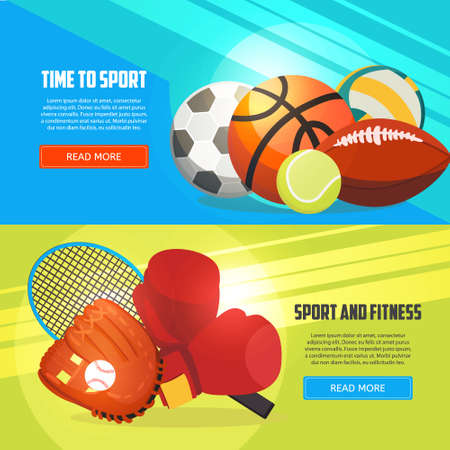 Sport and fitness horizontal banners. Football, basketball, boxing, tennis, baseball, rugby, volleyball vector illustration.