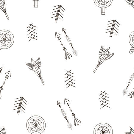 Trendy hipster seamless pattern. Retro style texture, pattern with arrows and dreamcatcher. Modern abstract design for T-shirts, shirts and other clothes.