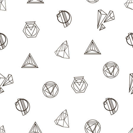 Trendy hipster seamless pattern. Retro style texture, pattern and geometric figures. Modern abstract design for T-shirts, shirts and other clothes.