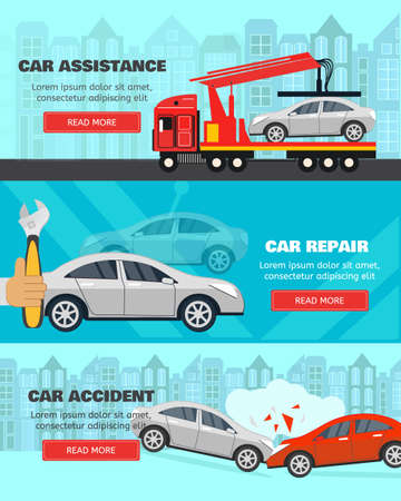 Banner set about car assistance on road, accidents and service. Flat style horizontal banners. Vector illusrtation.
