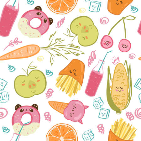 Cute food seamless pattern. Childish vector illustration. Food illustration for kids menu, wallpapper, clothes design and more.