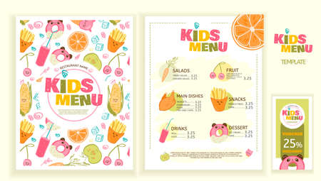 Cute colorful kids meal menu vector template. Funny snacks, fruits and vegetables. Menu design for restaurant, cafe and bar. Illustration