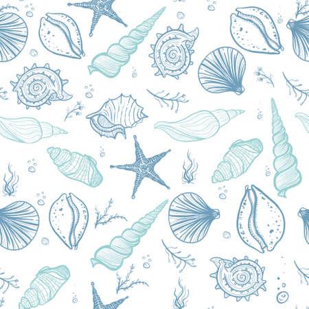 Seashells seamless pattern. Hand drawn doodle seashells, starfish, seaweed and corals. Creative seashells vector background.