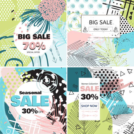 Fashion Sale and special offer concept card for online shopping. Social media sales banners set. Geometric background with palm leaves posters set. Illustration