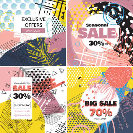 Creative Sale banners with discount offer. Design for seasonal clearance. Trendy 80s-90s memphis style with floral elements. Vector illustration. Illustration