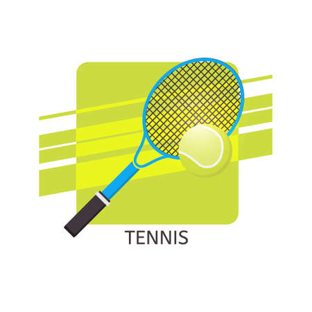 Tennis ball and racket vector icon. Isolated vector illustration. Illustration