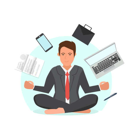 Businessman sitting in lotus position and try to relax.Office man meditating in the middle of busy workday vector illustration. Documents, phone, laptop flying around pffice worker. Illustration