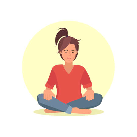 Beautiful woman in lotus pose. Vector illustration of woman doing yoga exercise. Cheerful mood, taking a break, working, studying, relaxation.