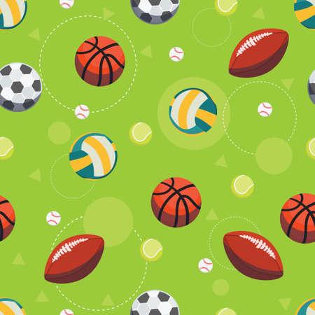 スポーツ ボールのシームレス パターン。サッカー、フットボール、バレーボール、ラグビー、テニス、野球、バスケット ボールのゲームのための  イラスト・ベクター素材