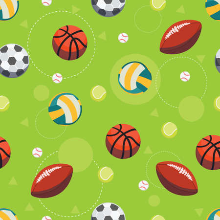 Sport ball seamless pattern. Vector background of balls for soccer, football, volleyball and rugby, tennis, baseball and basketball games. Sports equipment pattern. Illustration