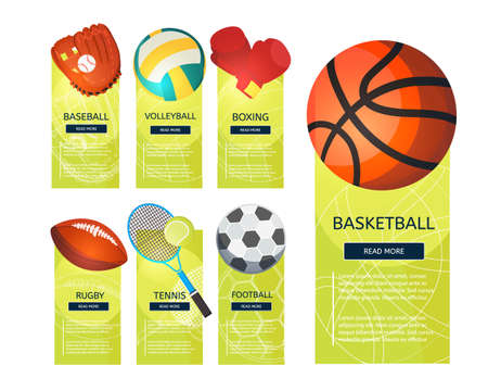 Sports balls and equipment icons of gaming accessories. Football, basketball, tennis, baseball, rugby, voleyball vector vertical banners. Creative sport games concept banners.