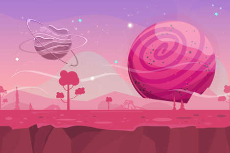 Seamless cartoon vector landscape. Vector endless background with ground, planet, trees, stars and sky layers. Fantasy sci-fi background for UI Game. Illustration of a cartoon sci-fi alien planet landscape. Illustration