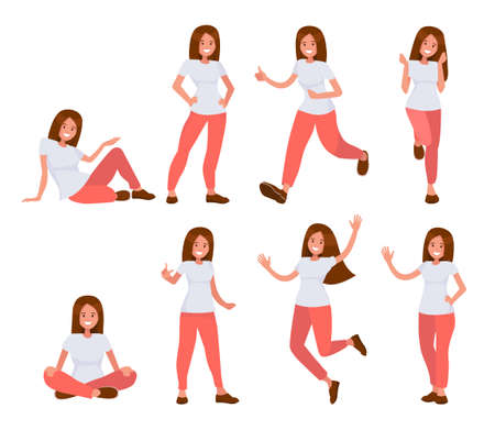 Set of woman in casual clothes in different poses. Vector illustration of fashionable young woman girl in red jeans and white T-shirt. Vectores
