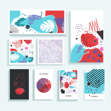 Collection of creative universal trendy cards. Hand Drawn textures. Modern Graphic Design for banner, poster, card, cover, invitation, brochure, flyer. Vector isolated illustration. Illustration