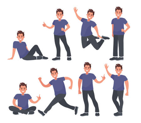 Guy in casual clothes in different poses. Set with a male character for your business project. Vector illustration in flat style. Modern design illustration.