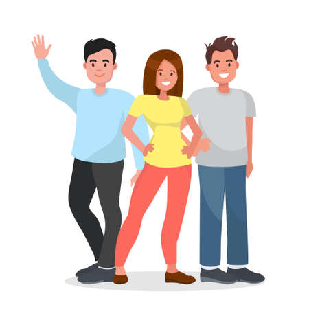 Group of happy people on isolated background. Young people standing together.Vector character avatars.