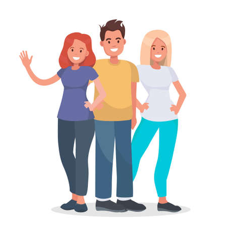 Group of happy people on isolated background. Young people standing together. Vector character avatars. Vectores