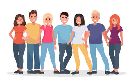 Group of happy people in casual clothes on a white background. Young people are standing shoulder to shoulder with each other. Vector illustration.