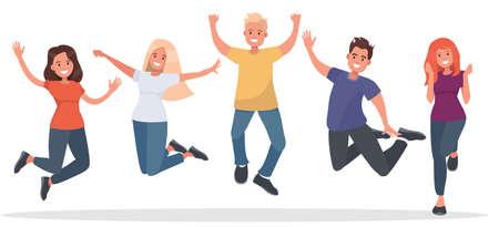 白い背景の上にジャンプの若者のグループ。友情、健康、成功のコンセプトです。フラット スタイルのベクトル図です。