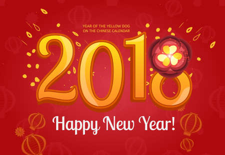 Happy Chinese new year 2018 card vector design. Abstract concept for Chinese New Year with lotus flower. Asian new year of the yellow dog celebration card. Illustration