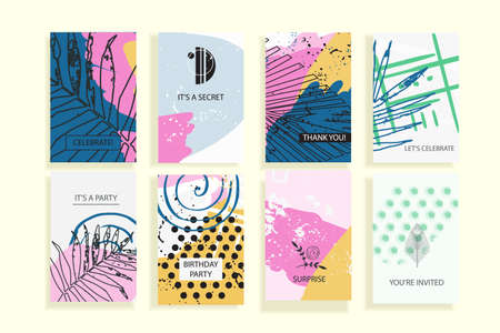 Collection of creative universal trendy cards. Hand Drawn textures. Modern Graphic Design for banner, poster, card, cover, invitation, brochure, flyer. Vector isolated illustration. Vectores