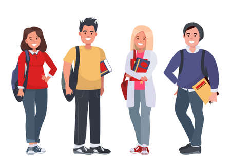 Happy students with books on an isolated background. Young people with books and backpacks. Vector illustration.