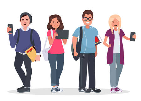 College students concept illustration. Young people with gadgets and backpacks. Modern teenagers with tablet and smartphones on white background. Vectores