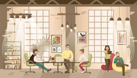 コワーキング オフィスのコンセプトです。場所をコワーキングで共同作業します。話しているとオープン スペースのオフィスのコンピューターで働  イラスト・ベクター素材