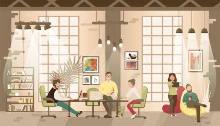 Concept of the coworking office. People work together in coworking place.Co-workers talking and working at the computers in the open space office. Vector flat style illustration. Vectores
