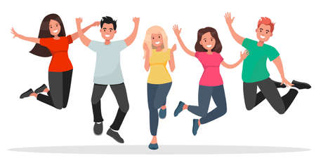Group of young people jumping on white background. The concept of friendship, healthy lifestyle, success. Vector illustration in flat style.