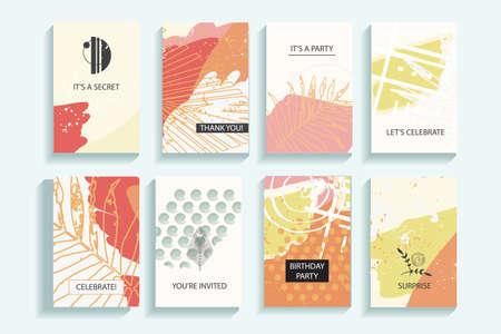 秋の普遍的なトレンディなカードのコレクションです。手描きのテクスチャ。バナー、ポスター、カード、カバー、招待状、パンフレット、チラシ