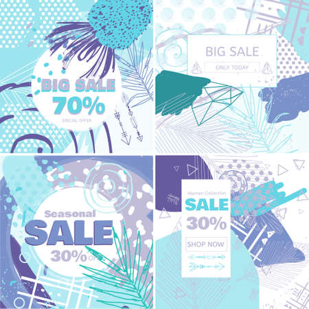 Fashion Sale and special offer concept card for online shopping. Winter style social media sales banners set. Geometric background with palm leaves posters set.