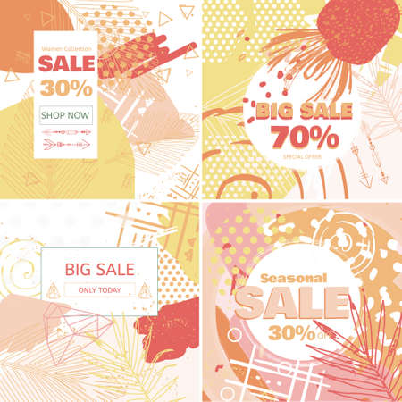 Creative Sale banners with discount offer. Design for seasonal clearance. Trendy 80s-90s memphis style with floral elements. Vector illustration. Vectores