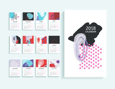Calendar 2018 in abstract modern art. Monthly calendar 2018 in printable creative template. 向量圖像