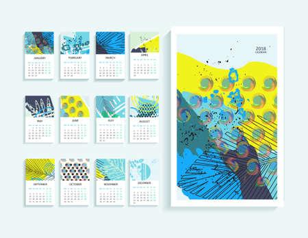 抽象現代美術のカレンダー2018。印刷可能なクリエイティブテンプレートで毎月カレンダー2018。