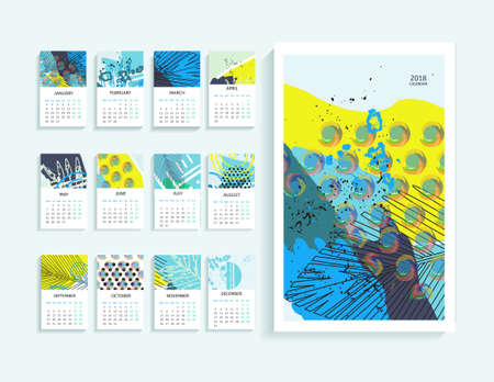 Calendar 2018 in abstract modern art. Monthly calendar 2018 in printable creative template. Illustration