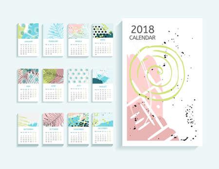 カレンダー2018。抽象現代美術月間カレンダー2018。印刷可能なクリエイティブ テンプレート。  イラスト・ベクター素材