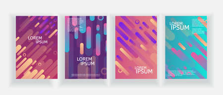 Covers with Flat Dynamic Design. Geometric Pattern flyers set. Minimal style geometric background. Illustration