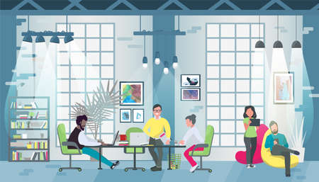 Coworking office concept design for web banners, infographics. Multicultural team works together in coworking place. Concept of the coworking center in flat style illustration.