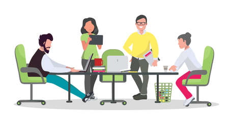 ○ o ワーキング センターの概念。オープンスペースオフィスで働く人々。ビジネスミーティングフラットスタイルのイラスト。