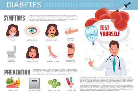 Diabetes infographic. Diabetes symptoms, prevention and treatment. Medical information vector concept infographic.