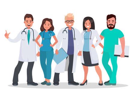医師がセット。白い背景の医療従事者のチーム。病院のスタッフ。医療コンセプトイラスト。フラット スタイルのベクター イラストレーション。  イラスト・ベクター素材
